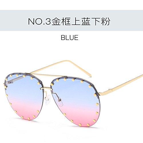 JUNHONGZHANG Kreative Persönlichkeit Sonnenbrillen Nieten Große Rahmen Sonnenbrille Rundes Gesicht Sonnenbrille Damen Pc Sonnenbrille, Blaues Pulver auf Dem Goldrahmen