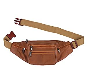 K London Stylish Real Leather Tan Waist Bag Elegant Style Travel Pouch Passport Holder with Adjustable Strap(1452_tan)