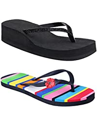 HD Flat Slipper Multi Colour For Girls And Black Heel Slipper Free