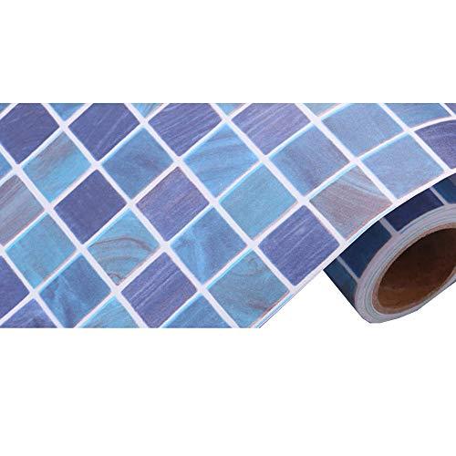 """Papel pintado con diseño de mosaico impermeable de HOHO, autoadhesivo, a prueba de aceite, para cuarto de baño o cocina, 45 x 100 cm., pvc, azul, 17.7""""X39.3"""""""