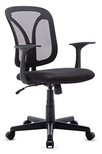 IntimaTe WM Heart Bürostuhl mit Netzrücken, Ergonomischer Schreibtischstuhl, Höhenverstellbarer Drehstuhl, Chefsessel mit Wippfunktion für Soho- oder Büroarbeit, schwarz