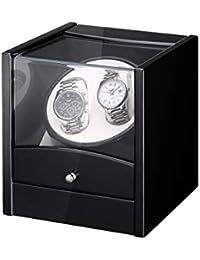 Caja Carga Reloj, FLOUREON Carga Lujoso Reloj de Madera con Motor Rotativo Automático, Paint Box con Pantalla, Carga 2 Relojes, Color Negro