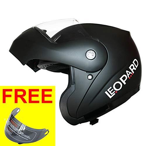 Leopard LEO-717 Klapphelm Integralhelm Motorrad Roller Helm mit Extra Dunkle Visier Motorradhelm Damen und Herren Jethelme ECE Genehmigt | #1 Schwarz matt XS (53-54cm)