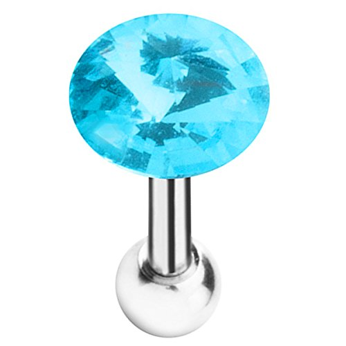 Piersando Tragus Piercing Helix Ohr Cartilage Knorpel Stab Stecker Edelstahl Kristall Kugel Aqua -