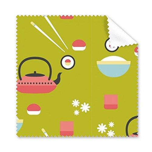 chen Stil, Niedliche Grün Blau Rot Weiß Reis Teekanne Tasse Sushi Stäbchen Sakura Illustration Muster Brille Reinigungstuch Reinigungstuch Handy-Display von 5x ()