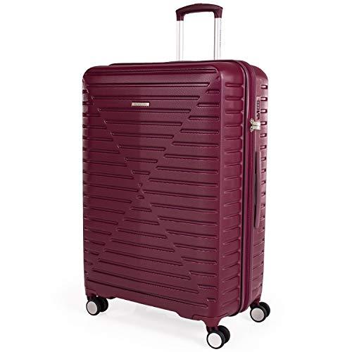 London Fog ABS Maleta de Carcasa Dura - Equipaje de Viaje con 8 Ruedas giratorias | Mango de Arrastre telescópico | TSA Cerraduras de Seguridad LFL005 Tuscan Red Large