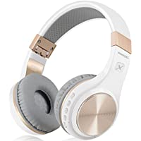 Bluetooth Headphones, Riwbox XBT-80 Foldable Stereo Wireless Bluetooth Headphones Over Ear with Microphone and Volume Control, Wireless and Wired Headphones for PC/Cell Phones/TV/Ipad (White Gold)