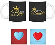 TheYaYaCafe Anniversary Gifts for Brother Bhabhi King Bro Queen Coffee Mugs Coaster - Set of 4 (330 ml, Black)