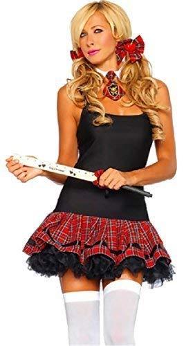 Damen Sexy Schulmädchen 3 Tlg Schottenkaro Kostüm Set Rollenspiel Schlafzimmer Tragen Krawatten Haarschleifen Lineal Ausschnitt ()
