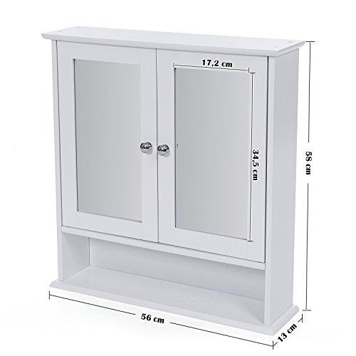 songmics armadietto ripostiglio da bagno con specchio a 3 ripiani da appendere a parete in legno. Black Bedroom Furniture Sets. Home Design Ideas