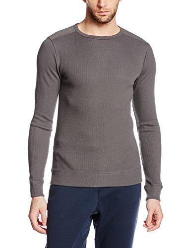 super.natural Herren M Jasper Crewneck Merino Sport-und Freizeitshirt, Grau (Moraine/Moraine Melange), Gr. Medium (Sweatshirt Medium Natural)
