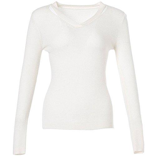 CICI RAN Frauen reizvoller hohler heraus Strickjacke Art und Weise V Ansatz langer Hülsen Pullover