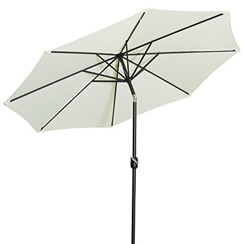 Gartenfreude Alu Sonnenschirm Marktschirm UV+50 300 cm, Creme