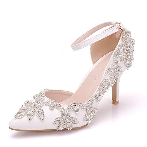Q&YYUE Damen Runde Toe Stöckel Absatz Braut Hochzeit Schuhe Schmeichelischer Tassel 8CM,White,39 -