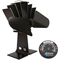 4YourHome Silent Heat Powered Stove Fan + Free Stove Thermometer Satin, Black - ukpricecomparsion.eu