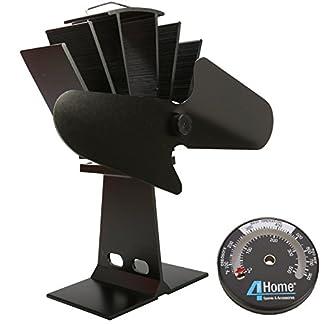 4YourHome – Ventilador de estufa silencioso y termómetro de cocina de satén, color negro