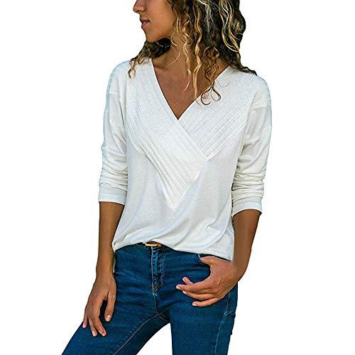 VECDY Pullover Damen, Räumungsverkauf-Frauen Casual Wrap Vorne V-Ausschnitt Langarm Loose Fit Basic Bluse Shirt Tops Mode T-Shirt Elegant -