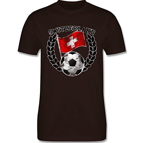 EM 2016 - Frankreich - Switzerland Flagge & Fußball Vintage - Herren Premium T-Shirt Braun