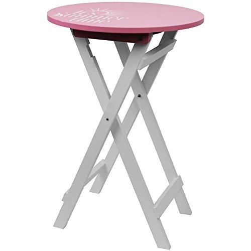 Beistelltisch Rund 40xH60cm Rosa/Weiß Klapptisch Bistrotisch Terrassentisch  Gartentisch Campingtisch