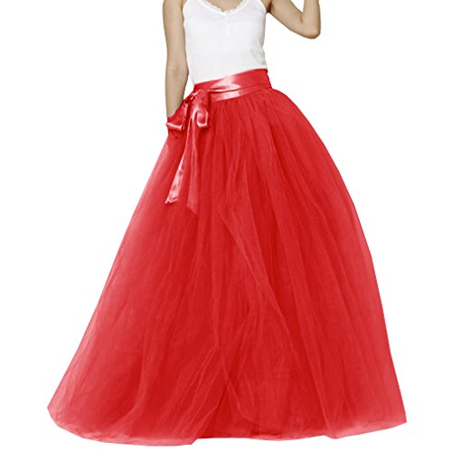 Matrimonio Donna pavimento lunghezza tulle sposa gonna con fiocco Red