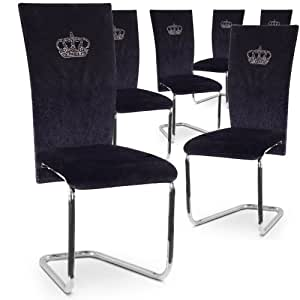 Lot de 6 chaises King velours Noir