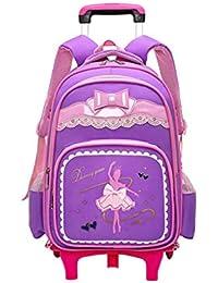 805fc9ef3f4db Zhuhaijq Trolley Rucksack Schultaschen Trolley Schule Rucksack - Trolley  Schoolbag Kinder Backpack Rollen für…