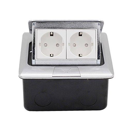 Preisvergleich Produktbild BAYTTER® Versenkbare Bodensteckdose Tischsteckdose 1-2 Fach Steckdose für Küchenarbeitsfläche Boden für Schlafzimmer Arbeitszimmer Edelstahl (2 Fach)