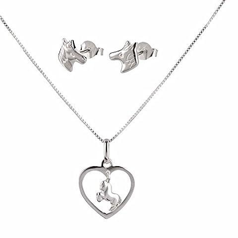 sl-silver Ensemble collier et boucles d'oreilles pendentif cheval Cœur Argent 925en boîte cadeau