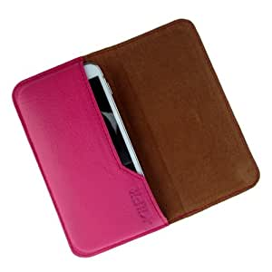 i-KitPit : Genuine Leather Flip Pouch Case Cover For Samsung Galaxy Win / Galaxy Quattro (PINK)