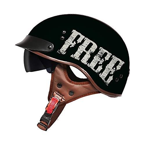 H_y Offener Cruiser Vintage Helm, Herren Retro Sonnenbrille Visier Lokomotive Elektro 57-62cm Harley Motorrad Sturzhelm,M