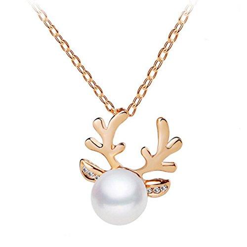Hosaire 1x Damen Halskette Mode Elchgeweihe Form mit Weißer Perle Anhänger Necklace Frau Weihnachten Schmuck Zubehör Halsketten Ketten