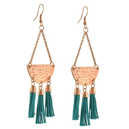 Zephyrr Jewellery Lightweight Hook Dangler Copper Tone Tassels Earrings For Girls