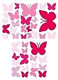 dekodino Wandtattoo Kinderzimmer Wandsticker Set Pinke Schmetterlinge für Mädchen Stück