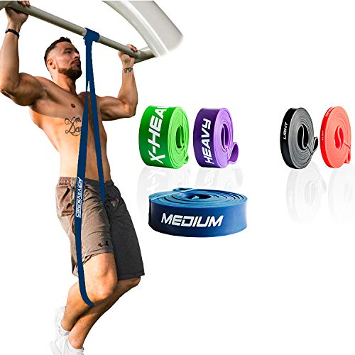 ActiveVikings® Pull-Up Fitnessbänder | Perfekt für Muskelaufbau und Crossfit Freeletics Calisthenics | Fitnessband Klimmzugbänder Widerstandsbänder (3 - Blau : Medium (Mittelstarker Widerstand)) (Dip-spaß Lila)