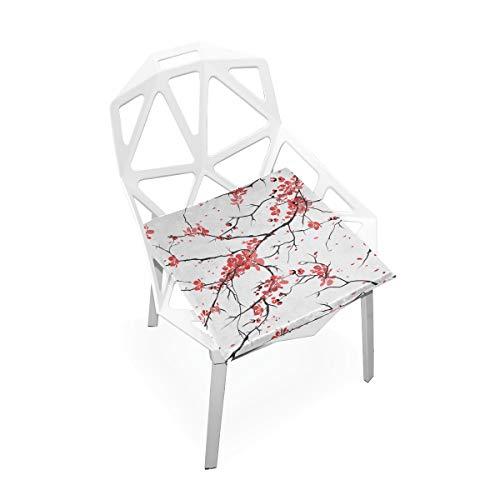 Enhusk Schreibtischunterlage XL Kirsche Sakura Nahtlose Muster Weiche rutschfeste Memory Foam Stuhlkissen Kissen Sitz Für Home Küche Schreibtisch 16x16 Zoll Liegestuhl Kissen -
