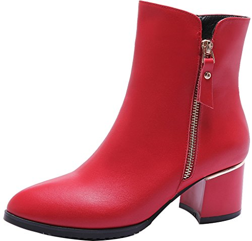ELEHOT Donna Eleear tacco a blocco 5CM Leather Stivali, rosso, 39