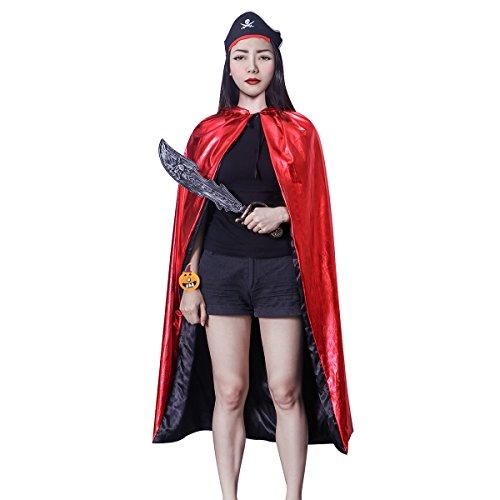 NUOLUX Unisex Halloween Cosplay Kostüm Spielzeug Set: Hexe Umhang Zauberer Kapuzen Robe Mantel, Kürbis Armband, Piraten Messer, (Begünstigt Piraten Partei)