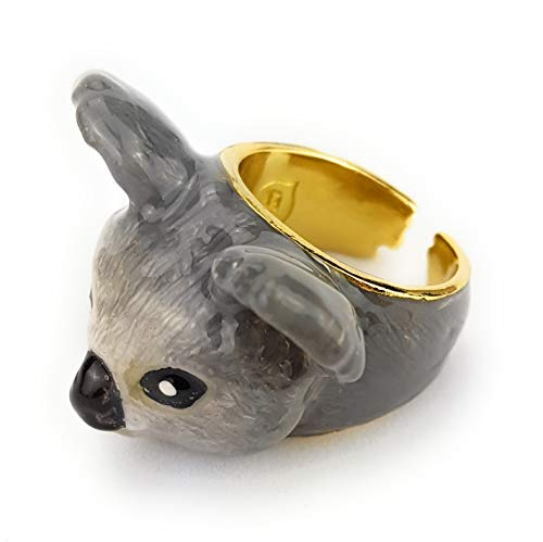 Monkimau 750 Gold plattierte Koala Ring-e Australien Deko Kinder-Schmuck Damen Frauen Mädchen Geschenk-e (Koala)