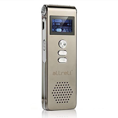 Digital Voice Recorder, aLLreLi 8GB Digitales Diktiergerät SPY Audio Recorder MP3 Player für Aufnahme Interviews Meetings und Studenten lernen, Grau
