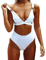 Bikini de Vendaje Bañador Mujer Sujetador Push-Up Monokini Cintura Alta Trajes de Baño Color sólido