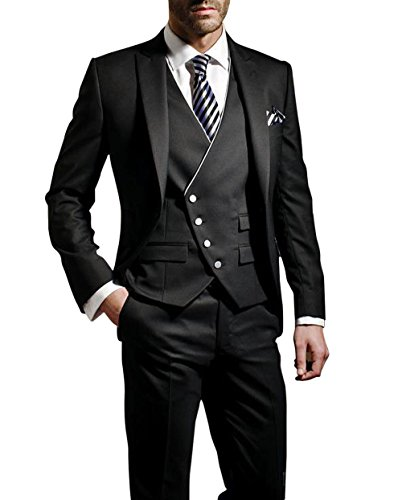 Suit Me Herren 3-Teilig Anzug Slim Fit Hochzeiten Party Smoking Anzuege Sakko,Weste,Hose Schwarz 2XL