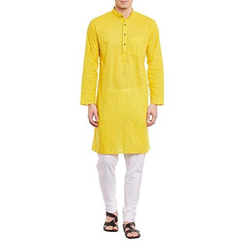 ShalinIndia Herren Bestickt Cutwork Kurta mit Churidar Pyjama Hose Maschine Baumwollstickerei, Brust 52 Zoll, XXXL, Gelb (Herren Designer Kurta)