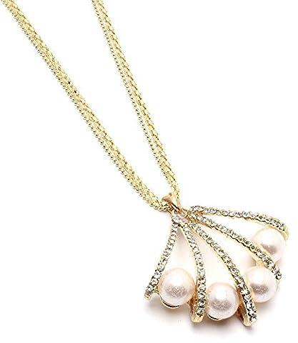& Or Cristal Perles Perle Palet oyster shell collier-Bijoux de mariée