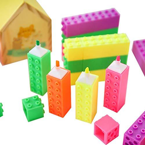 12 surligneurs Blocs de construction fantaisie aux couleurs acidulées pour enfants, bureau ou fournitures scolaires