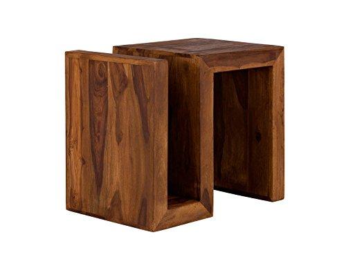 massivum Beistelltisch Cube 59x52x40 cm Palisander braun gewachst