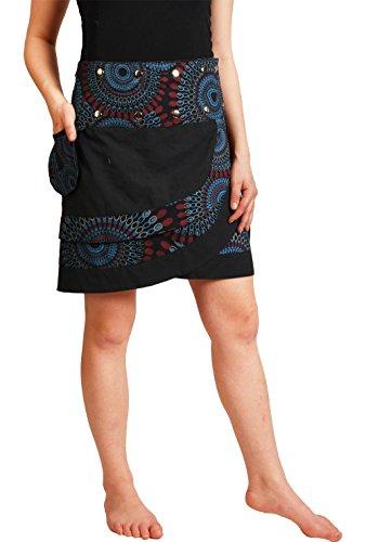 Leucht-Welten Damen Wickelrock mit Druckknöpfen Rock sk14 Schwarz Einheitsgröße verstellbar -
