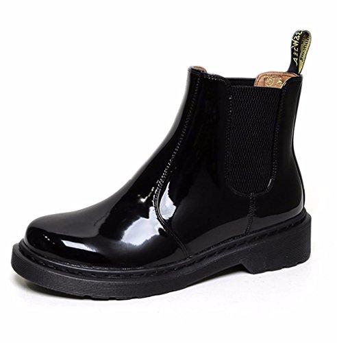 KHSKX-LAutomne Et LHiver Avec Des Bottes De Cuir Velours Martin Bottes Avec Tête Faible Des Femmes Nues Avec Tube Court Et Épais Chaussures black