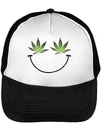 Happy Weed Leaf Smile Gorras Hombre Snapback Beisbol Negro Blanco