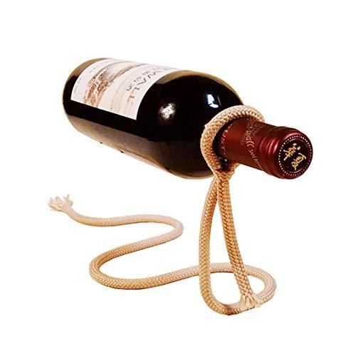 MZTYX De Farbe Seil Halterung Handwerkliche Kette Weinflasche Halter Floating Illusion Rack Elegant Magische Aufhängung Seil Wein Regal,Gold