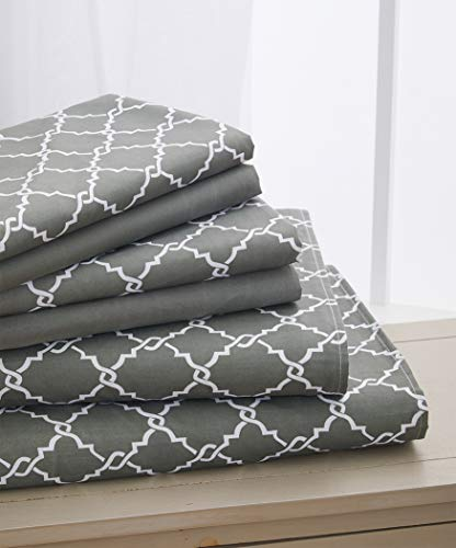 Elegant Comfort  TM Luxury Soft Trellis Printed Set-1500 Thread Count Egyptian Quality Microfiber 6-Piece Set Wrinkle Resistant Coziest Bedding, All Around Elastic Fitted Sheet, Full Grey